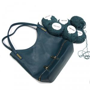 kit borsa in pelle ottanio con lana in omaggio