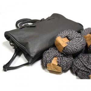 kit borsa in pelle filatura di crosa grigio con lana in omaggio