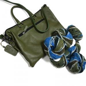 kit borsa in pelle oliva filatura di Crosa con lana in omaggio