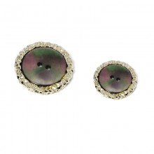 2 thick medium gray mother-of-pearl button holes with silver knurled crown