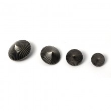 embossed metal-effect spiral button